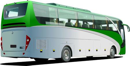 passenger vehicle: Verde de autobuses de turismo. Entrenador. Ilustraci�n vectorial