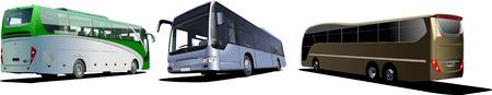 Trois autocars de tourisme. Coach. Vector illustration