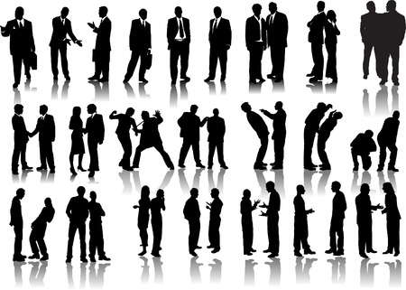 Forty businessmen silhouettes. Vector illustration