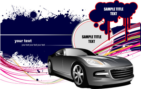waive: Grunge background  with car images. Vector illustration