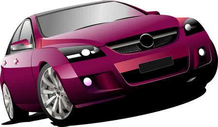 Sedan coche rojo en la carretera. Vector illustration