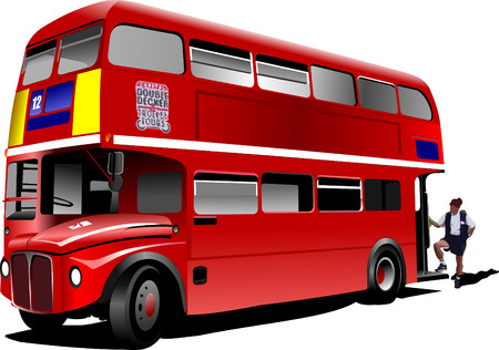 London double Decker  red bus. Vector illustration Stock Vector - 4704880