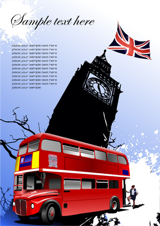 rarity: Cover for brochure with London images. Vector illustration