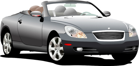 costly: Grey  car cabriolrt on the road. Vector illustration