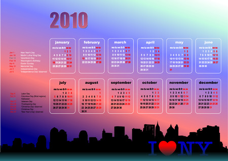 Calendar 2010 with American holidays. Months. Vector illustration Vector