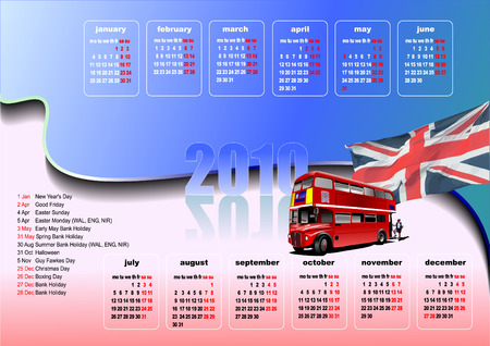 Calendar 2010 with United Kingdom  holidays. Months. Vector illustration Vector