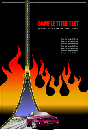 open flame: Cover for brochure with zipper image. Vector illustration