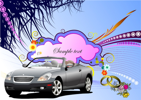 Grunge floral greeting wedding card with cabriolet image. Vector Vector
