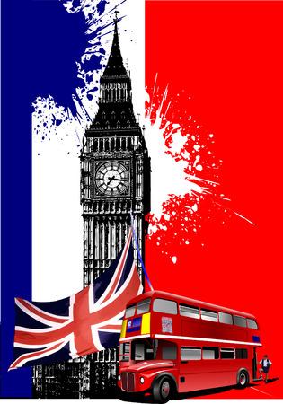 bandera inglaterra: Portada para folleto con im�genes de Londres. Ilustraci�n vectorial