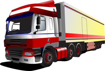 Colored Vector illustration of truck. Help for designers