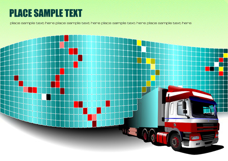 grout: Ceramic  tiles background with truck image. Vector Illustration