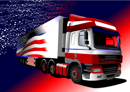 truck on highway: Colored Vector illustration of truck with American flag image on the board