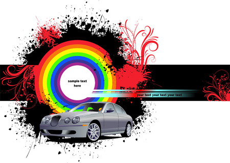 filthy: Grunge blot banner  with car image. Vector Illustration