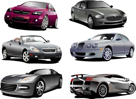 autos: Six autos on the road. Vector illustration Illustration