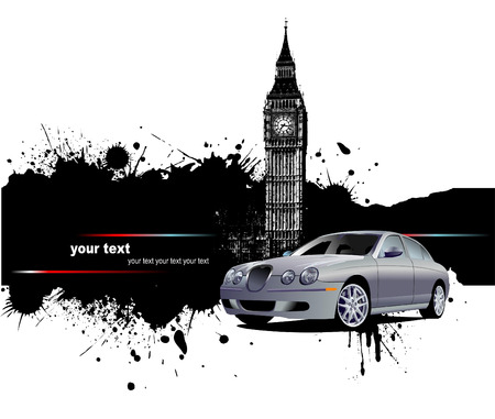 Grunge banner with London and car images. Vector illustration Illustration