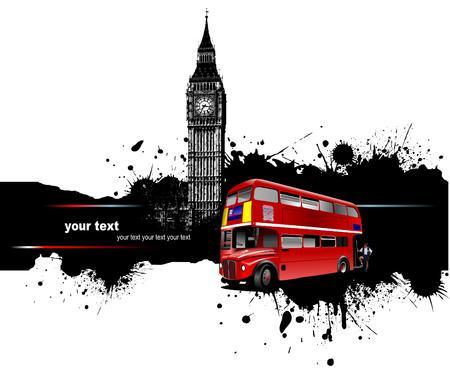 bandiera inghilterra: Grunge banner con autobus di Londra e le immagini. Vector illustration Vettoriali