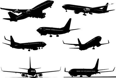 approaching: Seven Airplanes silhouettes. Vector illustration for designers