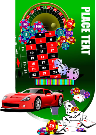 Roulette table and casino elements with sport car image. Vector illustration Vector