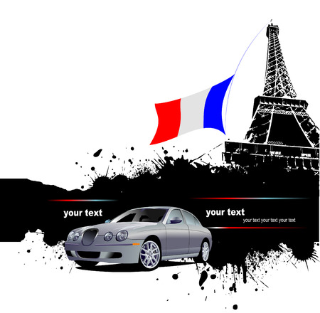 Cover for brochure with Paris image and France flag Stock Vector - 4704944