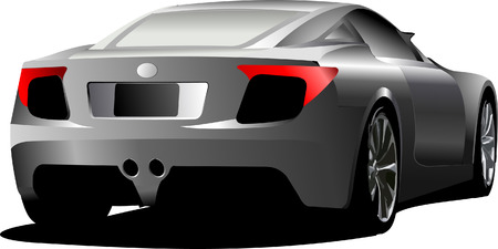 rear wheel: Car sedan on the road. Rear side. Vector illustration