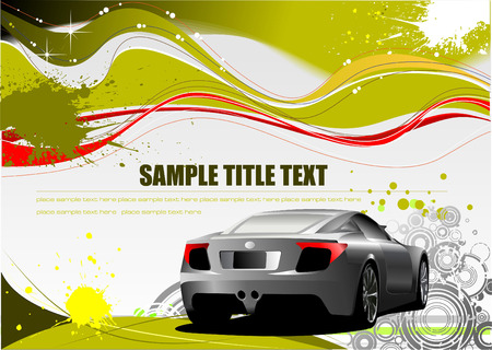 Green and Yellow grunge background with car image. Vector Vector