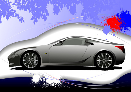 rear wheel: Grunge background with car image. Vector illustration Illustration