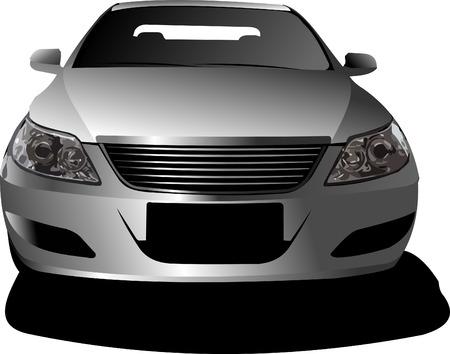 정면: Car sedan on the road. Frontal view. Vector illustration