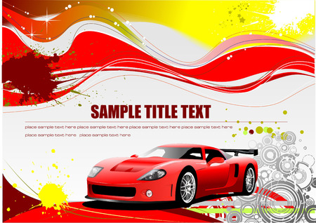 distort: Red and Yellow grunge background with car image. Vector