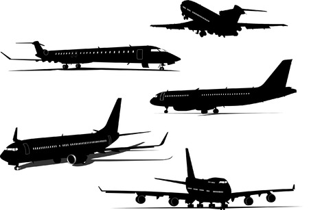 runway: Airplane silhouettes. Vector illustration for designers