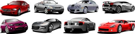 autos: Eight  autos on the road. Vector illustration Illustration