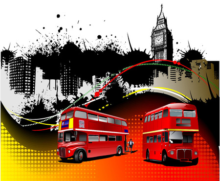 abstract london: Cover for brochure with London images. Vector illustration