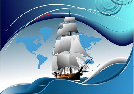tallship: Cover for brochure with old sailing vessel Illustration
