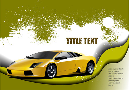 Grunge abstract hi  background with sport car image. Vector illustration Vector