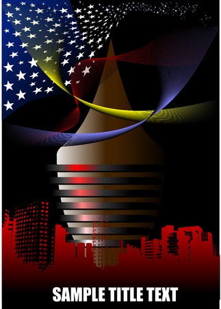 Abstract futuristic town with American flag image Vector