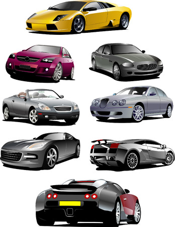 sedan: Eight  cars on the road. Vector illustration