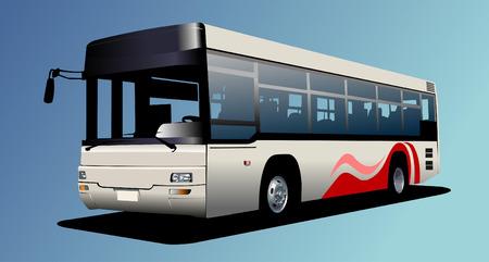 White town bus. Coach. Vector illustration Vector