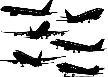 Seis siluetas Aeronave. Ilustración vectorial para diseñadores