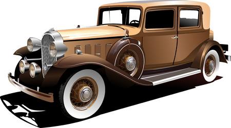 Old  car. Sedan. Vector illustration