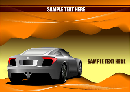 Abstract hi-tech background. Desert with car image. Vector desert colored illustration Vector
