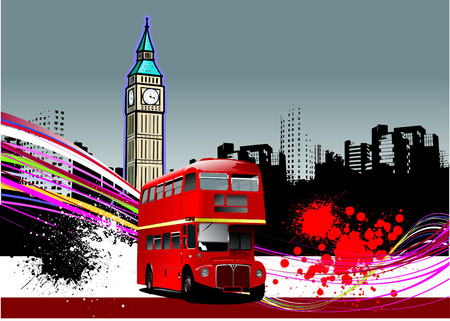 double decker: Cover for brochure with London images. Vector illustration