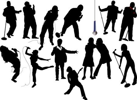 mike: Thirteen singer silhouettes. Vector illustration Illustration
