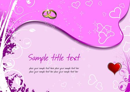 Wedding or Valentine`s Day  Greeting Card. Vector illustration. Invitation card Vector