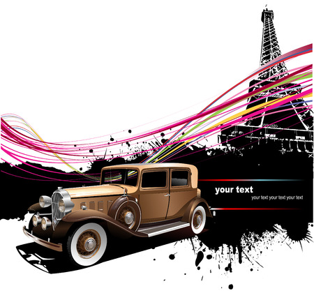 Old car with Paris image background. Vector illustration Illustration
