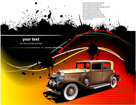 Yellow green abstract background with old car image. Vector illustration Vector