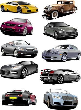 autos: Ten autos on the road. Vector illustration