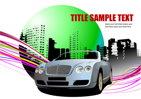 Grunge abstract background with car image. Vector illustration Vector