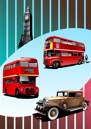 broun: Retro Broun car and two London double Decker buses . Vector Illustration