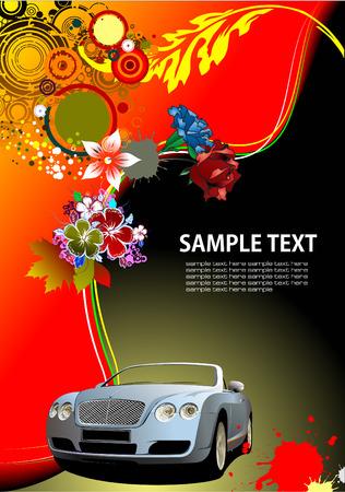 cabriolet: Floral background with cabriolet car image. Vector illustration. Invitation card