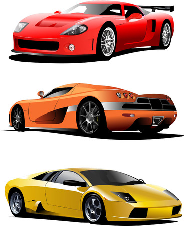 Three sport  cars on the road. Vector illustration Stock Vector - 5059233