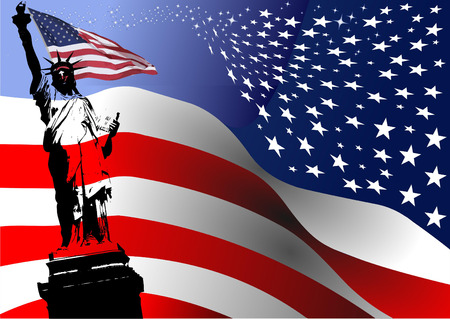 American flag with Liberty  statue  image. Vector illustration Vector